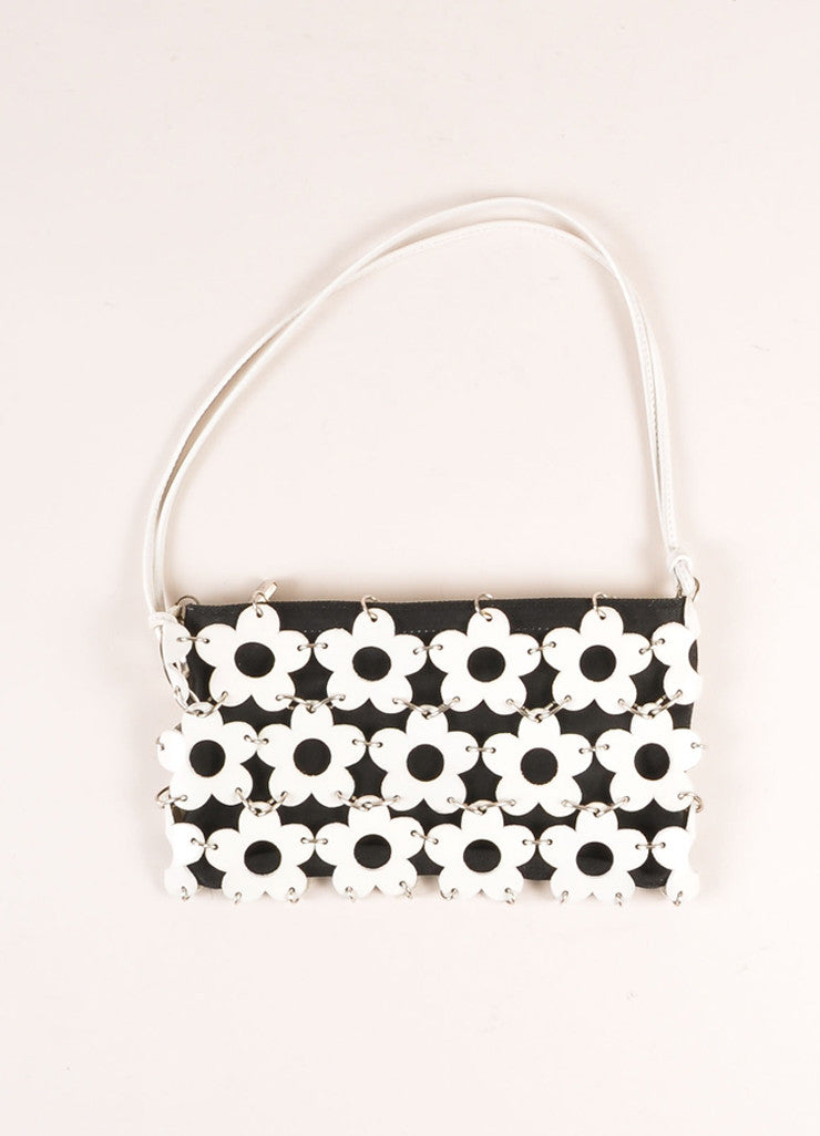 Celine Navy and White Canvas and Leather Flower Chain Maille Small Shoulder Bag Frontview