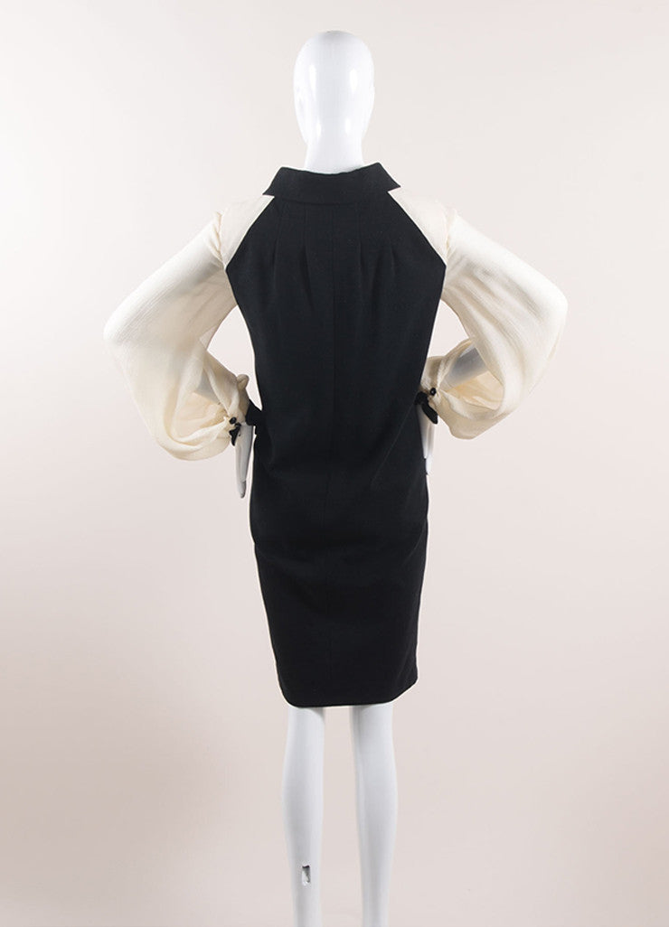 Chanel Black and Cream Cotton and Silk Tie Front Shift Dress Backview