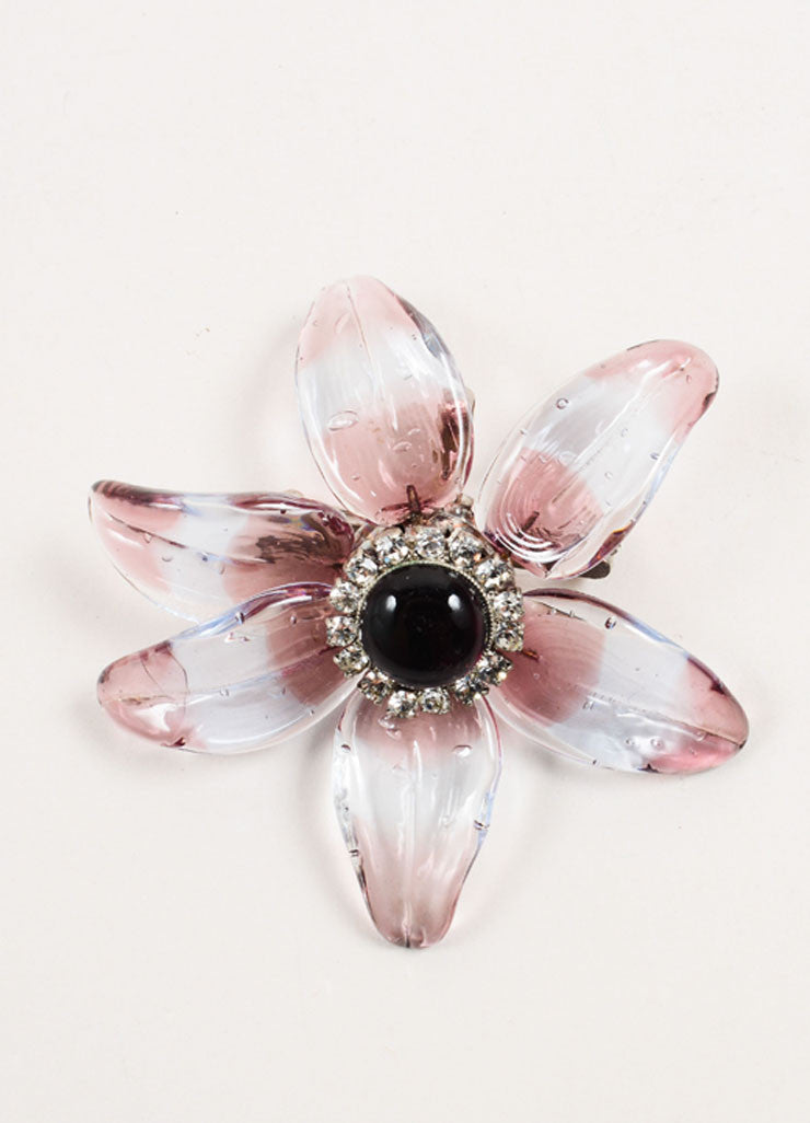 Chanel Purple Translucent Stripe Rhinestone Embellished Flower Brooch Frontview