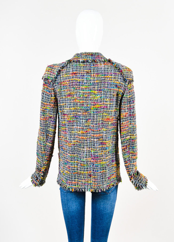 Chanel Black and Multicolor Tweed Single Button Jacket Backview