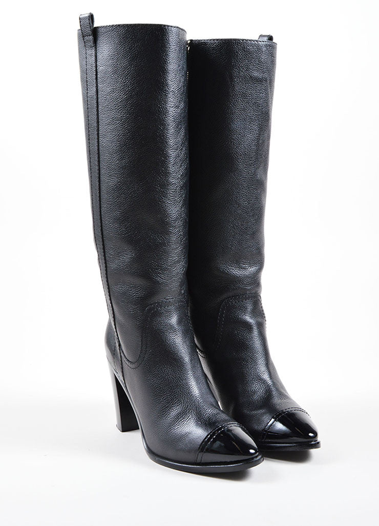 Chanel Black Pebbled Leather Cap Toe Stacked Heel  Knee High Boots Frontview