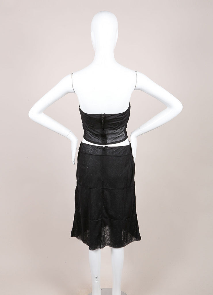 Chanel Black Sheer Mesh Paneled Strapless Crop Top A-Line Skirt Set Backview