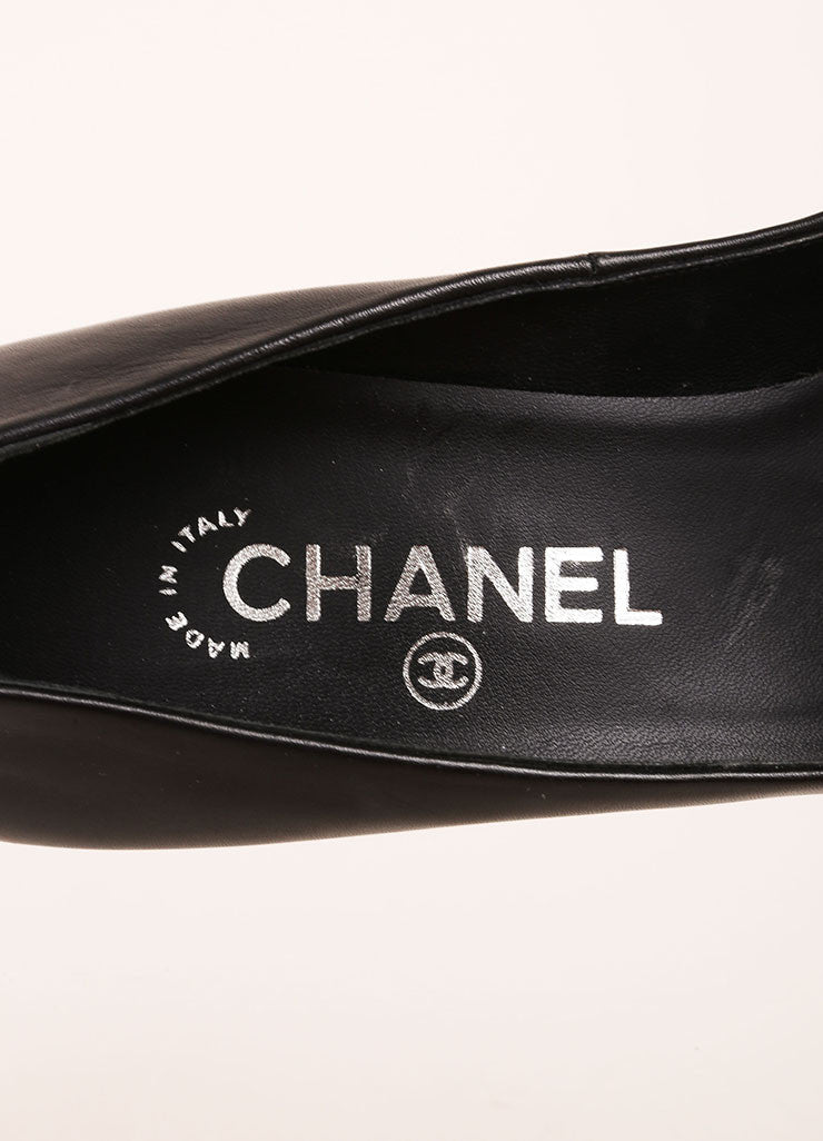Chanel Black and Silver Toned Leather Metallic Cap Toe Platform Pumps Brand