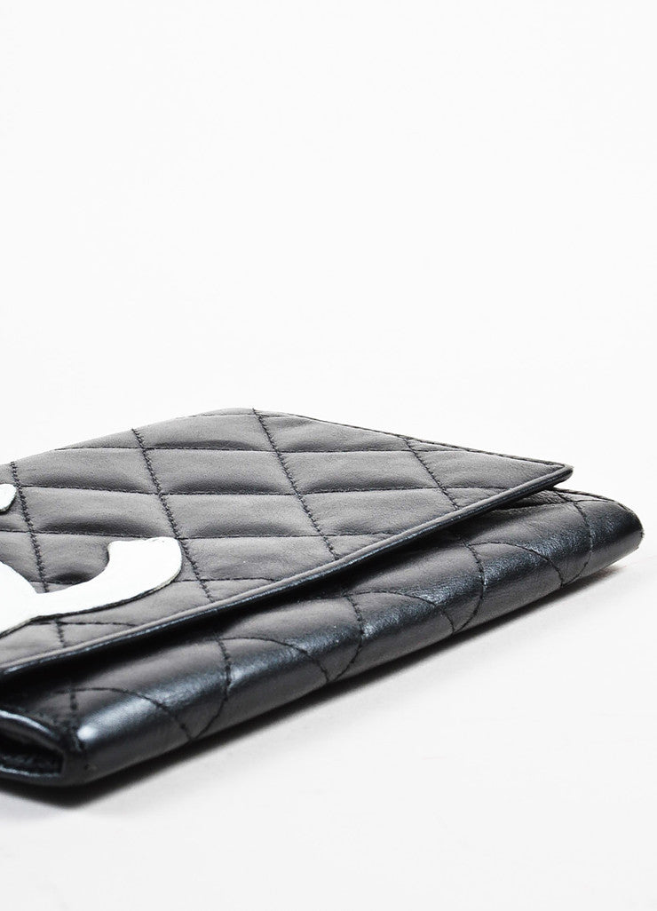 "Chanel Black and White Quilted Leather 'CC' Logo ""Ligne Cambon"" Wallet Bottom View"
