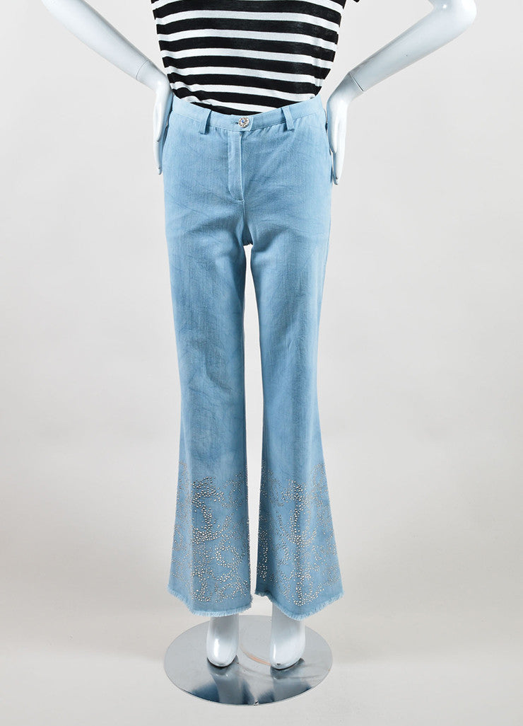 "Chanel Blue Cotton Wide Leg ""CC"" Rhinestone Embellished Frayed Hem Jeans Frontview"