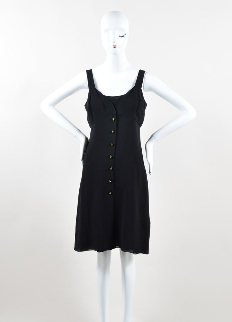 Chanel Black Silk Georgette Sleeveless Button Up Slip Dress Frontview