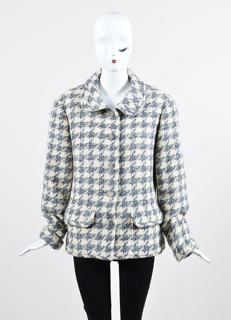 Cream, Grey, and Black Chanel Wool Woven Knit Herringbone Jacket Frontview 2