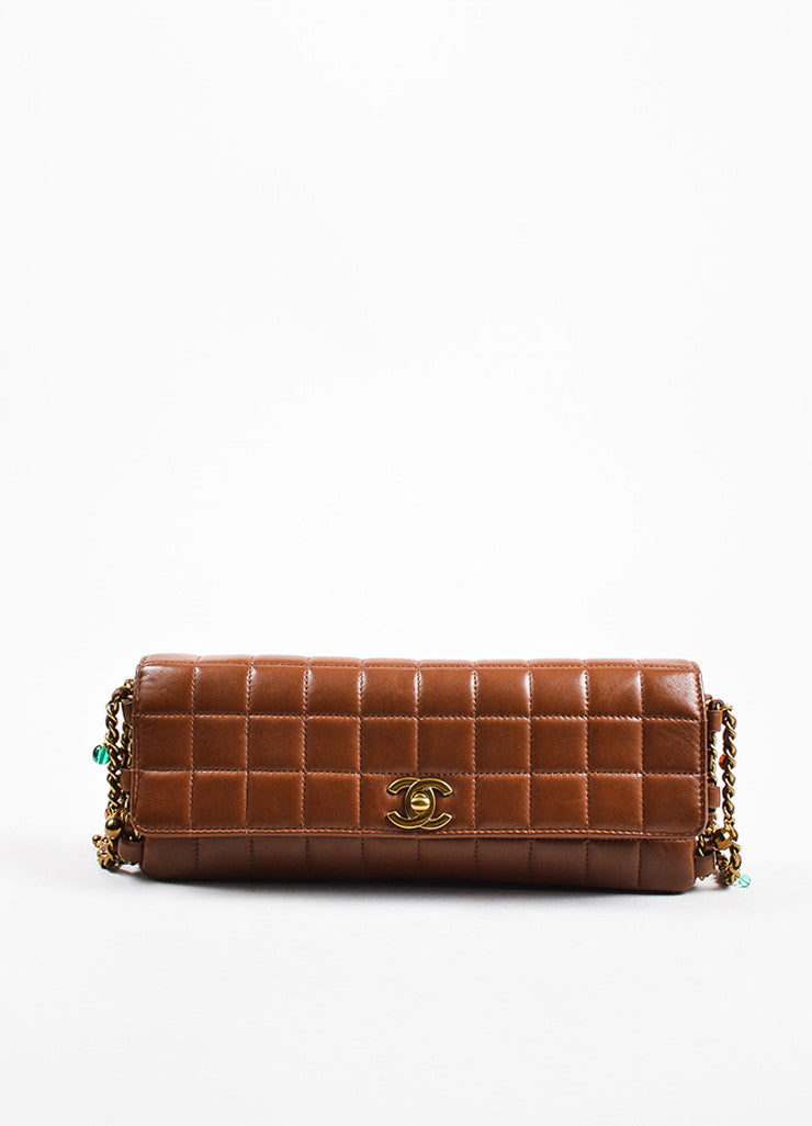 "Chanel Brown Quilted Leather ""East West Chocolate Bar"" Beaded Chain Strap Bag Frontview"