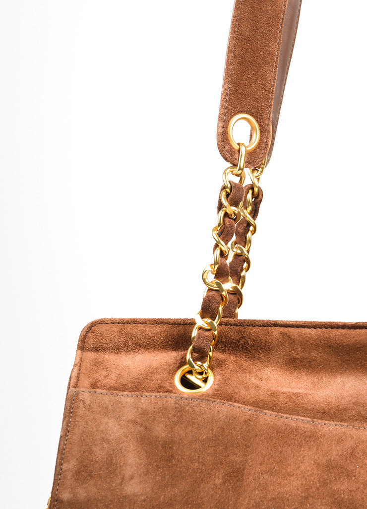 Brown and Gold Toned Chanel 'CC' Suede Leather Dual Strap Shoulder Bag Detail 2