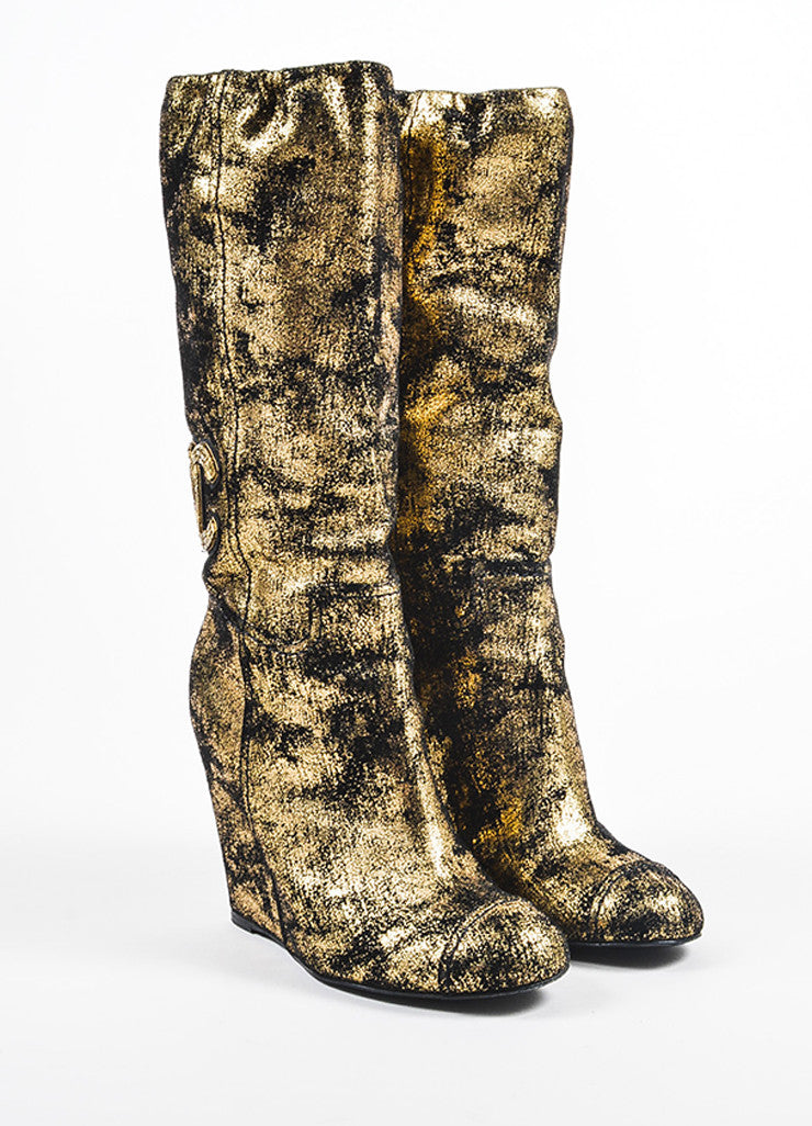 Metallic Gold and Black Chanel Suede Embellished 'CC' Wedge Calf Boots Frontview