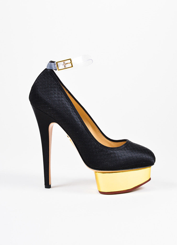 "å´?ÌÜCharlotte Olympia Black and Gold Toned Satin Quilt ""Dolores"" Ankle Strap Pumps Sideview"