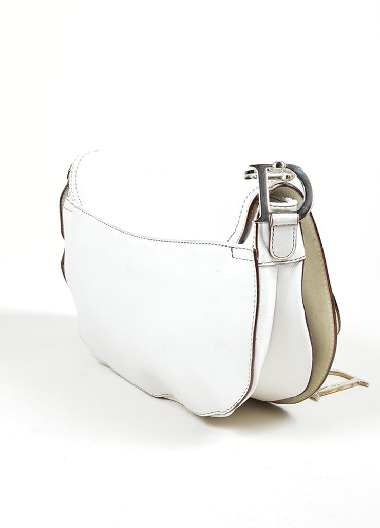 "White Christian Dior Leather Stitched ""Medium Saddle"" Shoulder Bag Sideview"