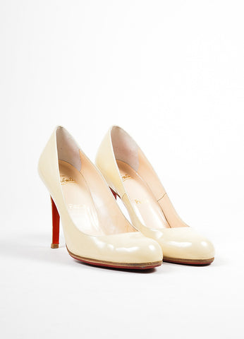 "Beige Christian Louboutin Patent Leather ""Simple 100"" Pumps Frontview"
