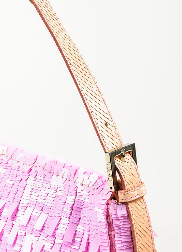 "Fendi Pink Blush Sequin Python Silver Toned 'FF' Flap ""Baguette"" Shoulder Bag Detail 3"