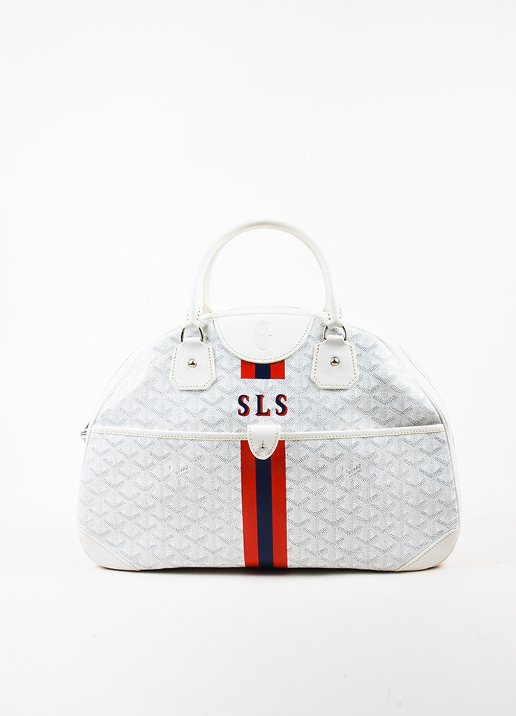 "Goyard Blue, Red, and White Coated Canvas and Leather GM ""St. Jeanne"" Bag Frontview"