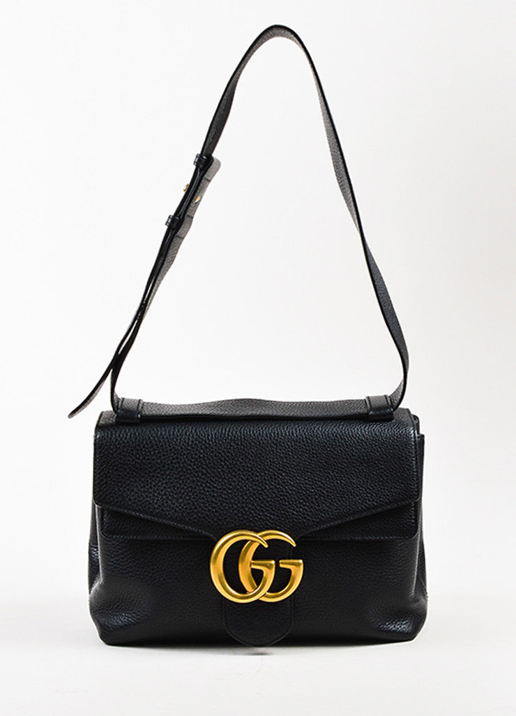 "Gucci Black Leather ""GG Marmont"" Medium Shoulder Bag Frontview"