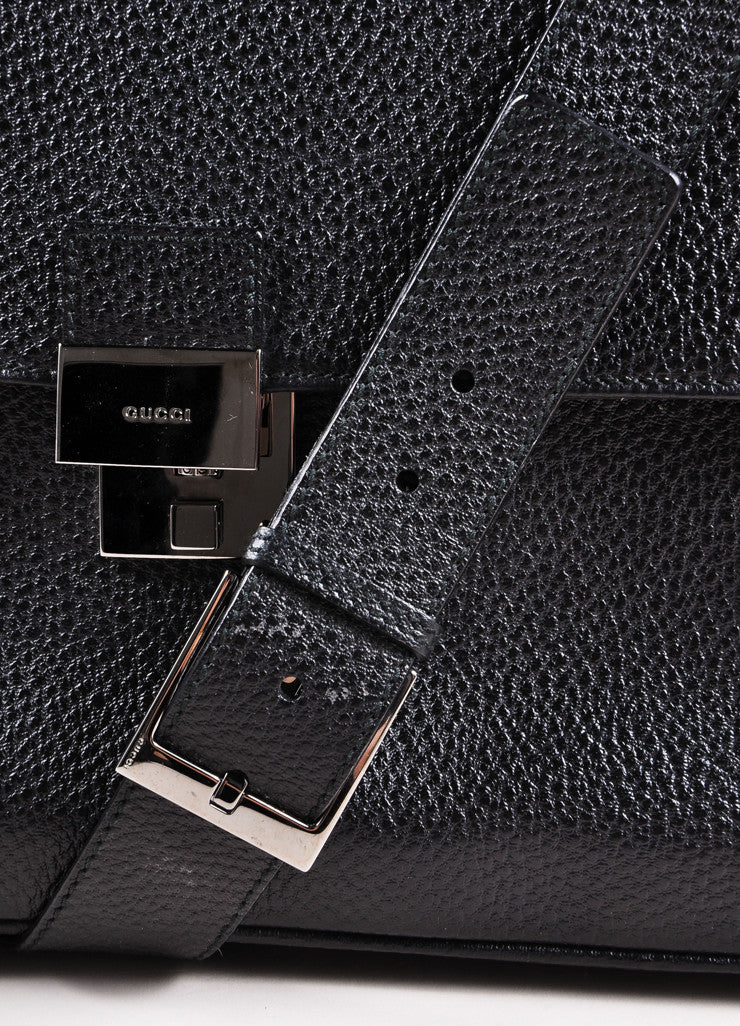 Gucci Black Grain Leather Oversized Messenger Briefcase Detail 2