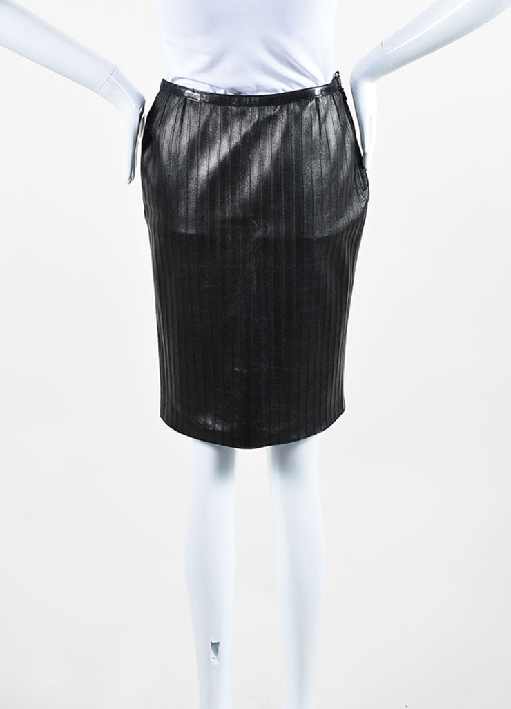 Black Gucci Leather Paneled Knee Length Pencil Skirt Backview