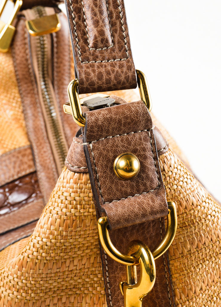 "Gucci Brown Straw and Crocodile Leather ""Secret"" Hobo Bag Detail 2"