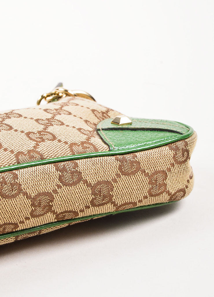 Gucci Brown and Tan Monogrammed Canvas and Green Leather Trimmed Pochette Bag Bottom View