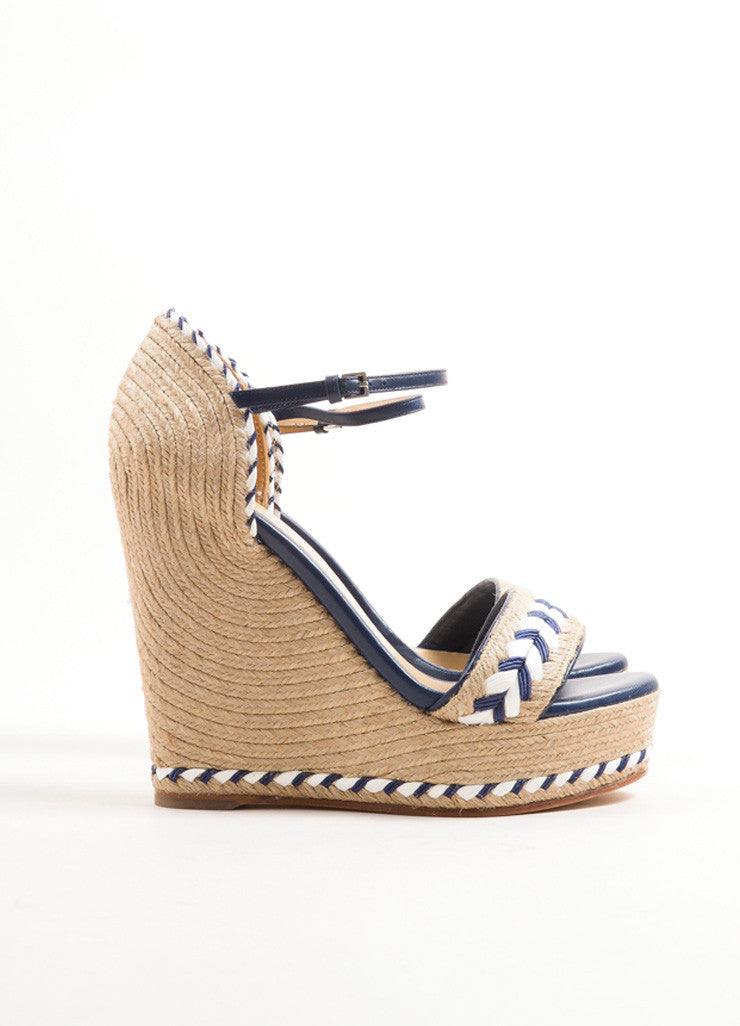 Gucci Blue and White Leather Raffia Espadrille 85mm Wedge Sandals Sideview