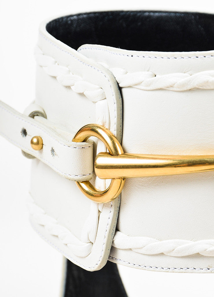 "White Gucci Leather Braided Horsebit ""Ursula"" Gladiator Sandals Detail"