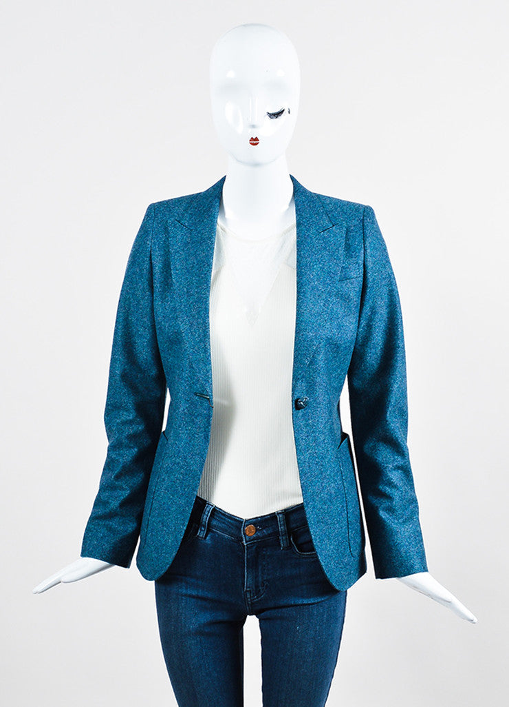 Blue Gucci Speckled Wool Jacket and Trousers Suit Set Jacket