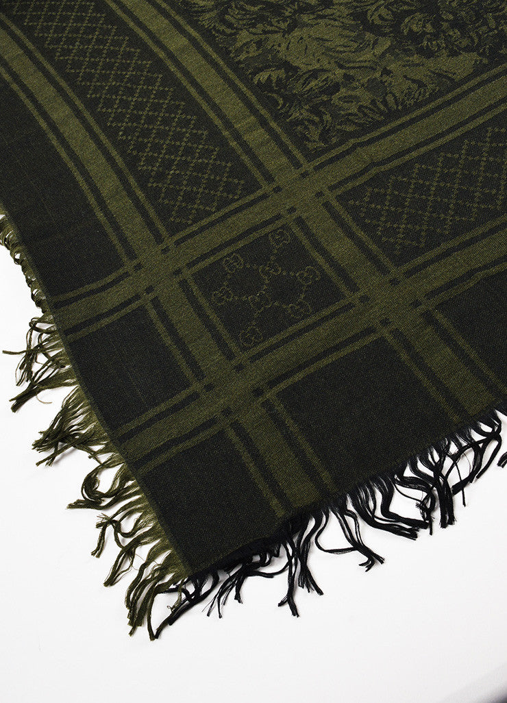 Gucci Dark Olive Green and Black Wool Silk Patterned Fringe Trim Shawl Detail