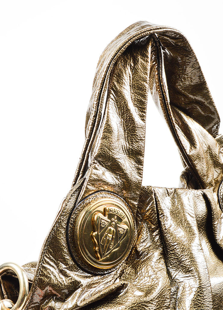 "Olive Green Gucci Patent Leather Pleated ""Medium Hysteria"" Shoulder Hobo Bag Detail 2"
