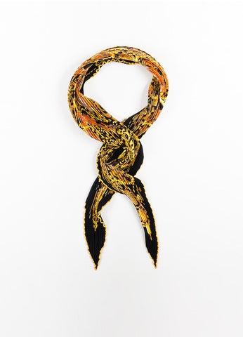 "Hermes Black, Gold, and Orange Silk Plisse Print ""La Charmante Aux Animaux"" Scarf Frontview"