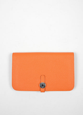 "Hermes Togo ""Capucine Orange"" Leather Dogon Combo Wallet Frontview"
