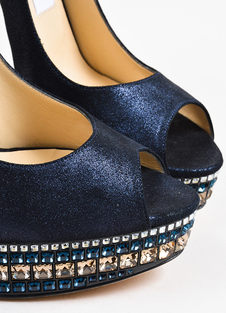 Jimmy Choo Navy Metallic Silver Rhinestones Peep Toe Platform Pumps Detail