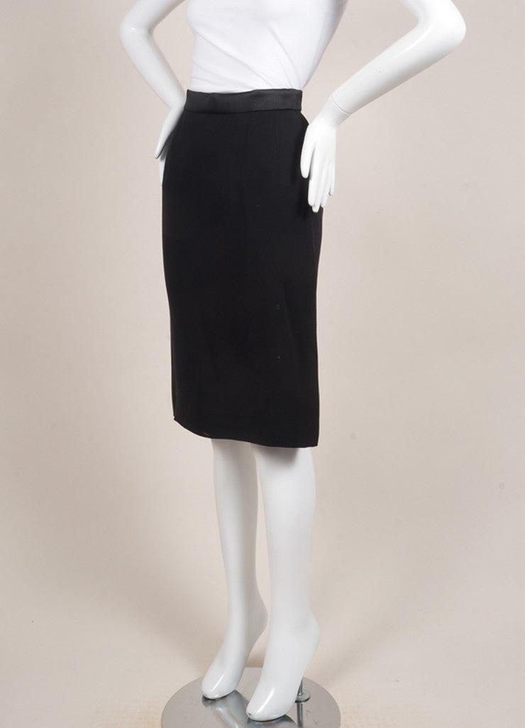 Lanvin New With Tags Black Satin and Silk Blend Tux Band Pencil Skirt Sideview