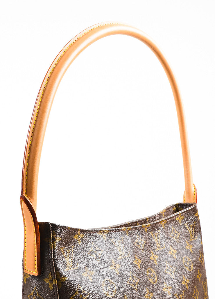 "Brown Louis Vuitton Coated Canvas Monogram ""Looping GM"" Tote Detail 3"