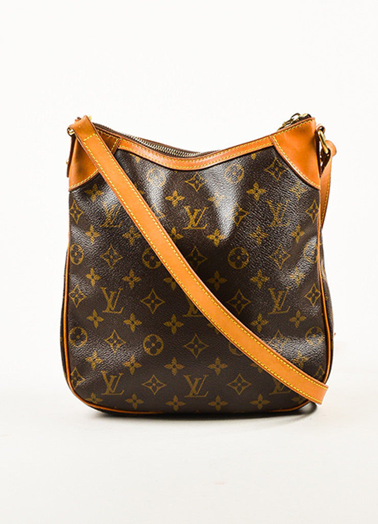 "Louis Vuitton Brown and Tan Monogram Canvas Leather Trim ""Odeon PM"" Shoulder Bag Frontview"