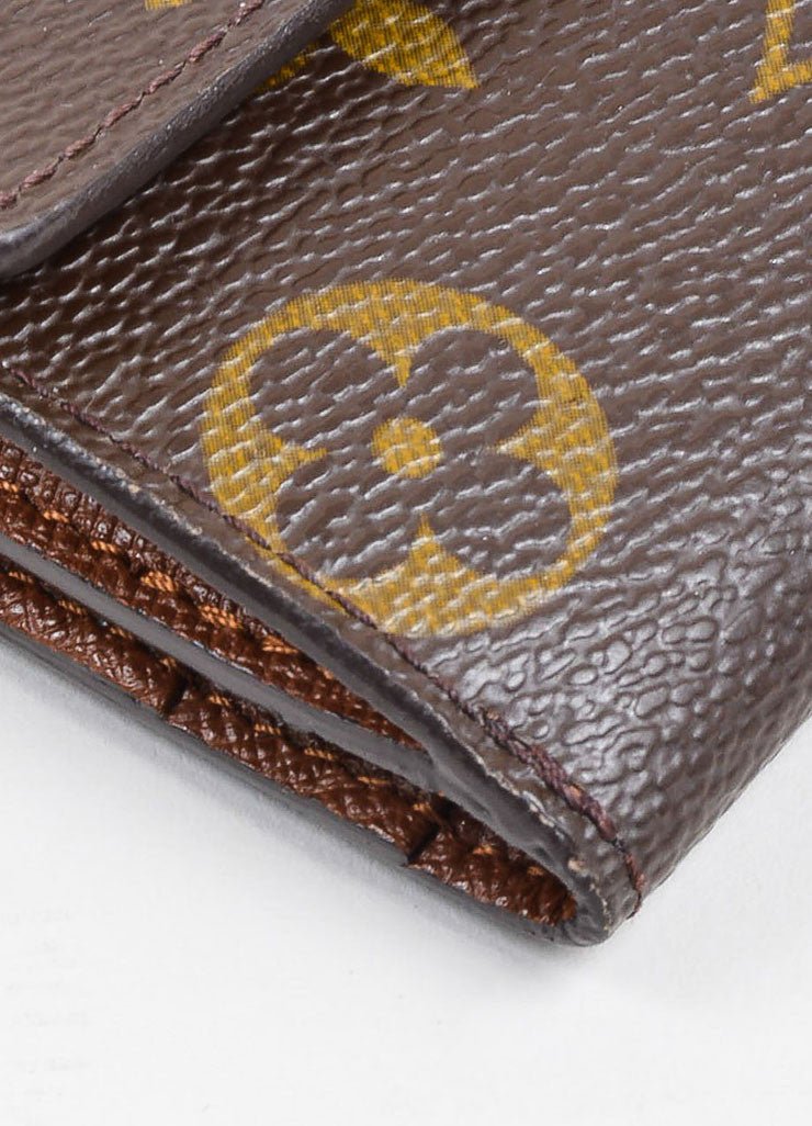 Brown and Tan Louis Vuitton Monogram Coated Canvas Small Snap Card Wallet Detail