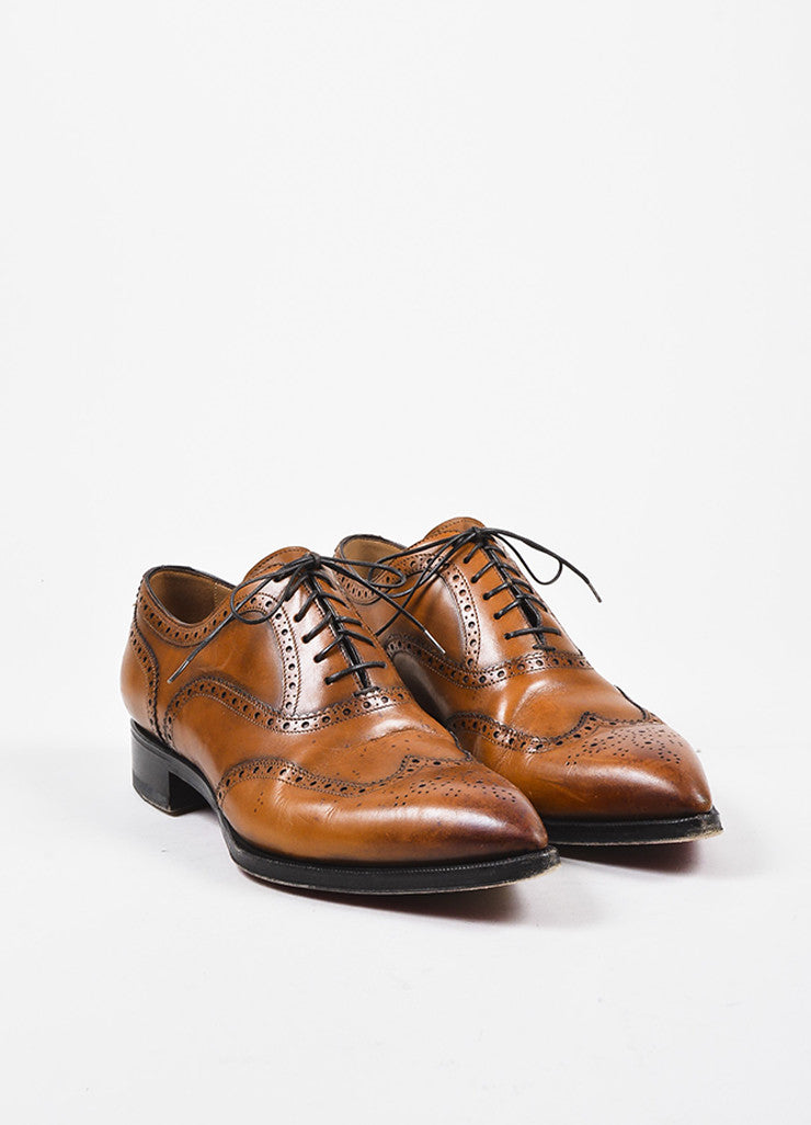 "Men's Christian Louboutin Cognac ""Platers Fiori"" Leather Oxford Shoes Frontview"
