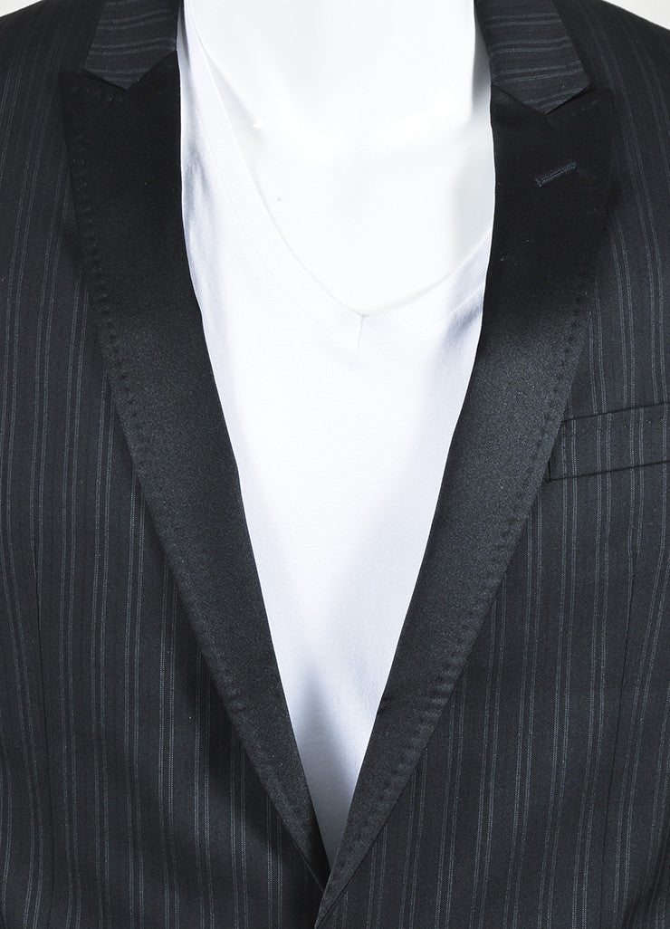 Dolce & Gabbana Black Grey Wool Silk Pinstripe Suit Jacket Detail