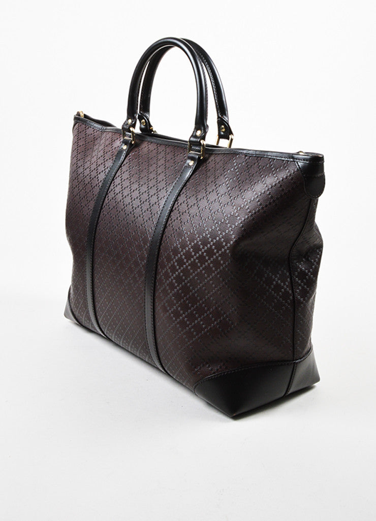 "Men's Gucci Brown Leather ""Medium Hilary Lux Diamante"" East-West Tote Bag Sideview"