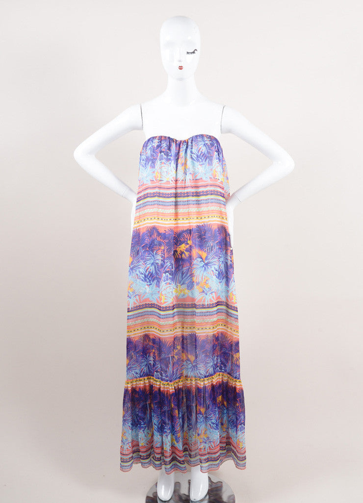 MSGM New With Tags Purple and Multicolor Silk Tropical Print Strapless Maxi Dress Frontview