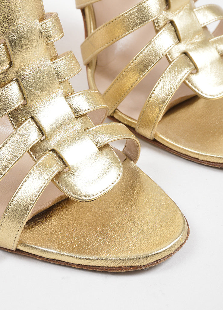 Gold Manolo Blahnik Leather Rakelanzany Heeled Sandals Detail