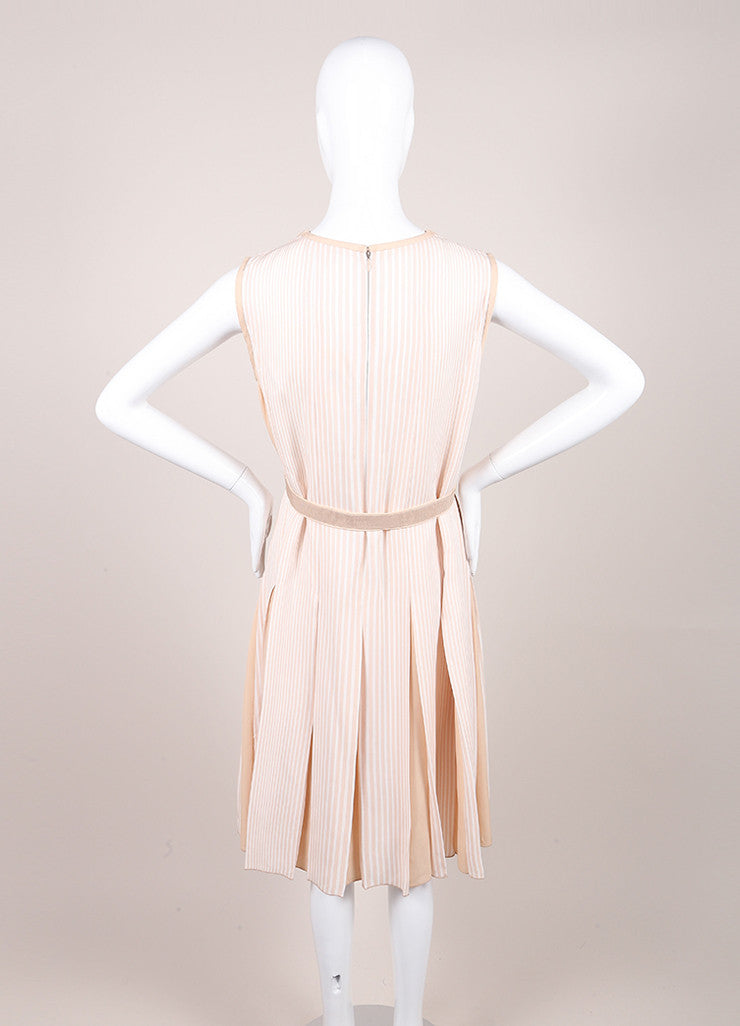 Marc Jacobs Beige and Cream Stripe Pleated and Belted Cut Out Dress Backview