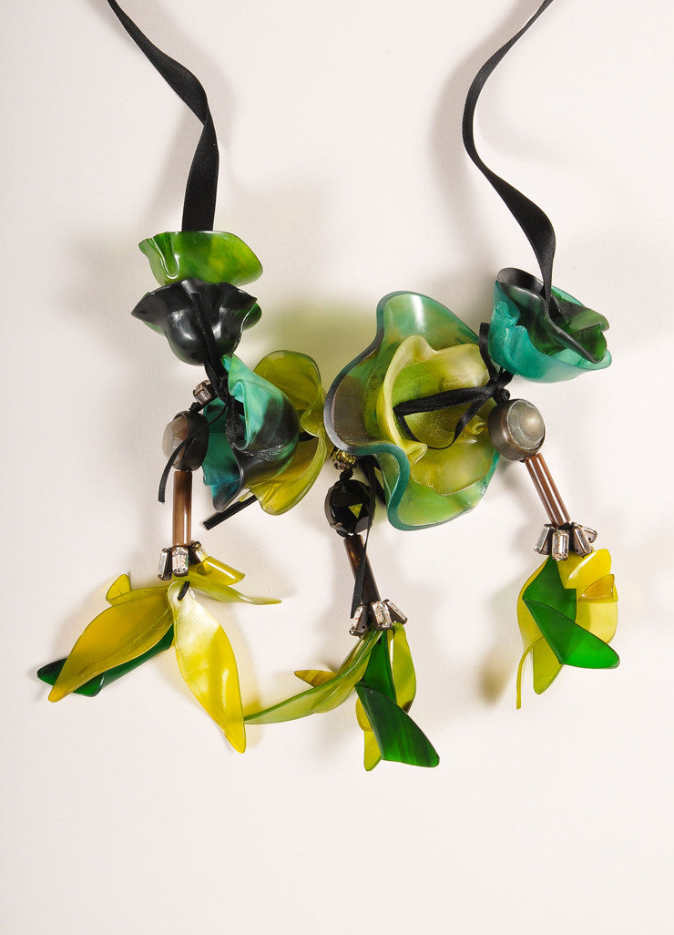 Marni Green and Black Resin Flower and Rhinestone Long Ribbon Tie Statement Necklace Detail