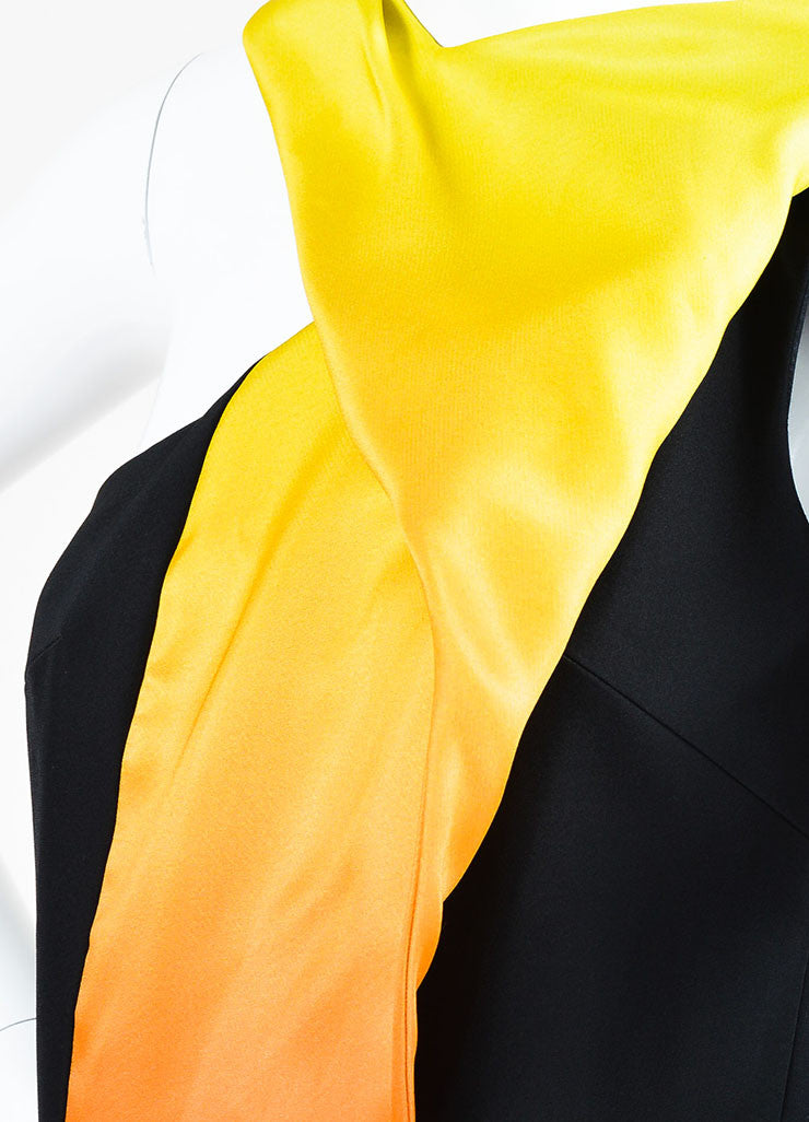 "Black, Orange, and Yellow Mathieu Mirano ""Ombre Flame"" Sleeveless Dress Detail"