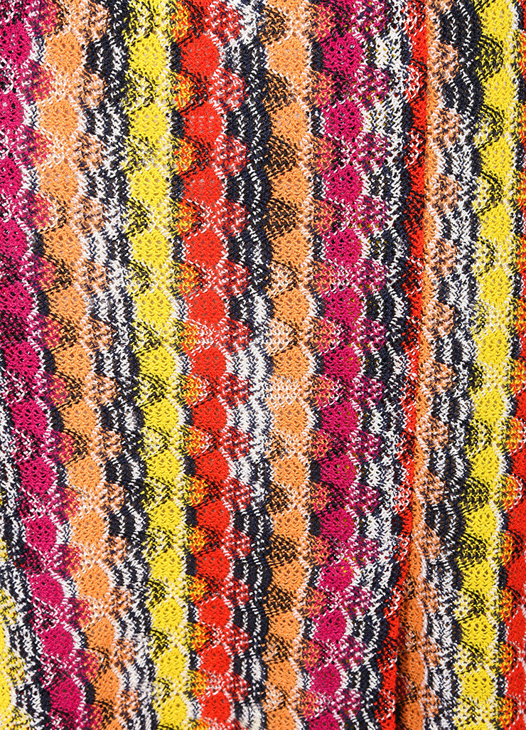 Missoni Multicolor Linen Blend Knit Pleated Skirt Detail
