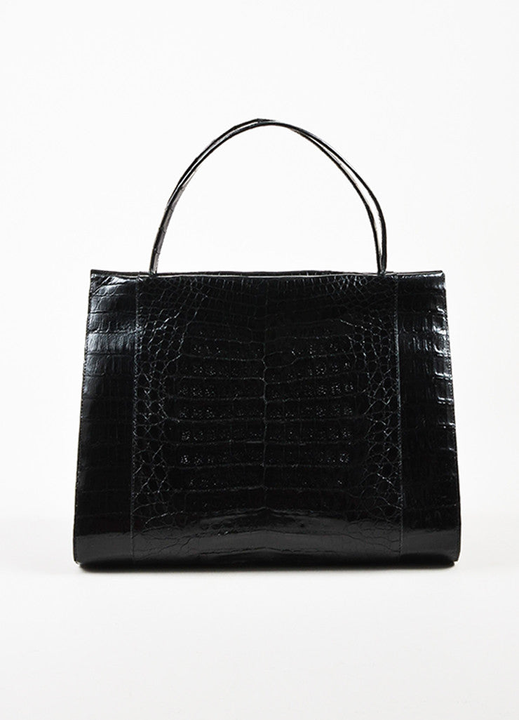 Nancy Gonzalez Black Crocodile Leather Tote Bag Frontview
