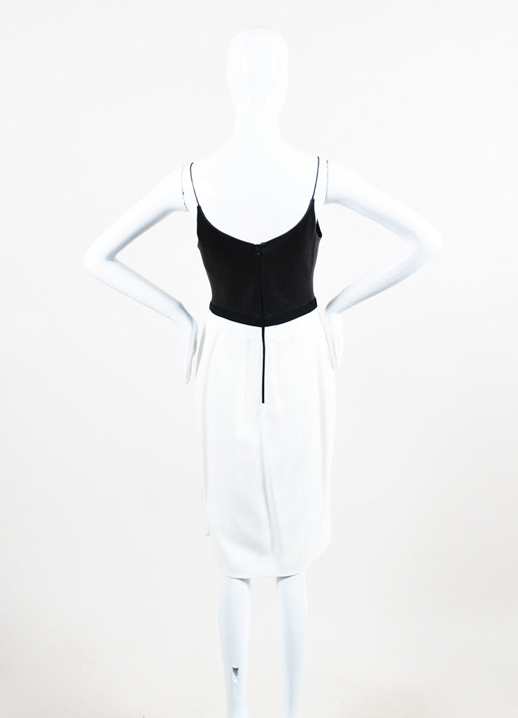 Narciso Rodriguez White, Black, and Bronze Leather Crepe Pencil Dress Backview