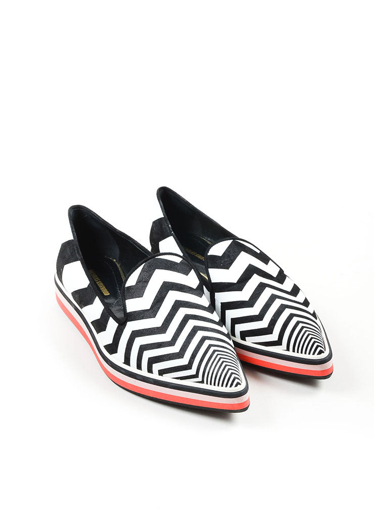 "Black and White Nicholas Kirkwood Chevron Pointed Toe ""Alona"" Loafers Front"