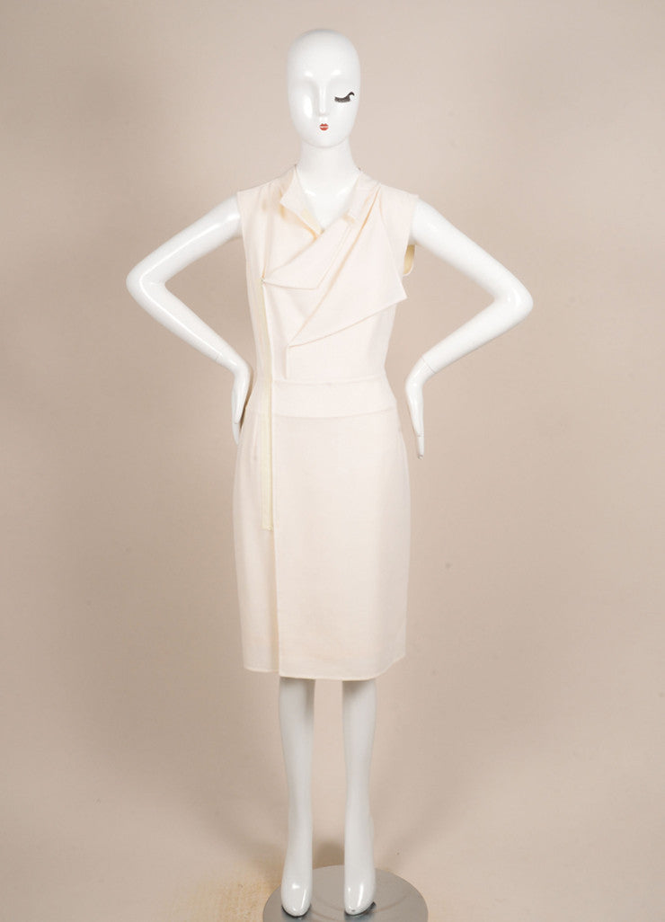 Oscar de la Renta Cream Zip Sleeveless Dress Frontview