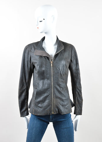 Rick Owens Dark Grey and Brown Leather and Wool Flared Zip Up Jacket Frontview